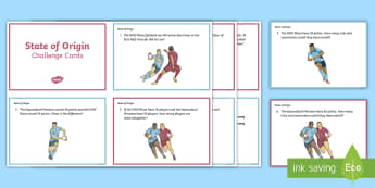 Year 3 State of Origin Challenge Cards - Australian Sporting Events Maths, maths, mathematics, Year 3, number and algebra, number and place v