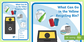 What Can Go In The Yellow Recycling Bin? Display Poster - tidy kiwi, New Zealand, rubbish, recycling, Years 1-6, yellow bin, display poster