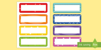 Multicolour Pattern Drawer Peg Name Labels - Editable Drawer Peg Name Labels - labels, signs, name labels, lebels, austrailia, labeles, editble,