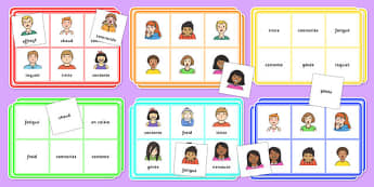 Feelings Bingo French - french, feelings, bingo, activity, game, class, play