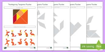 Thanksgiving Tangram Puzzles - Tangrams, Puzzles, Shapes, Thanksgiving, fall