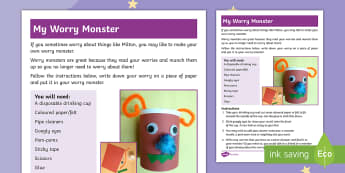 The Making of Milton Worry Monster Activity Sheet - twinkl originals, fiction, brave, courage, KS1, EYFS, Story Sack, worksheet, Home learning, Parents,