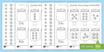 Ficha de actividad: ¿Cuánto dinero hay en la hucha? - dinero, euros, monedas, contar, mates, matemáticas, moneda, hucha, cuenta, sumas, ficha, ,Spanish