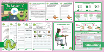 The Journey to Cursive: The Letter 'a' (Curly Caterpillar Family Help Card 2) KS2 Activity Pack - Nelson handwriting, penpals, fluent, joined, legible, handwriting