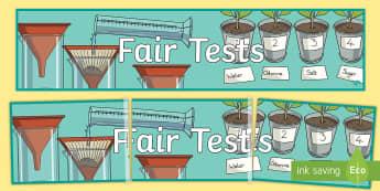 Fair Tests Display Banner - Porter Croft Displays, fair test, testing, science, investigation, investigative, investigations, di