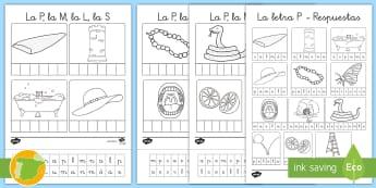 Ficha de cortar y pegar: La P, la M, la L y la S - lecto, leer, lectura, sonidos, letra, lecto-escritura, fonemas, sonidos, consonantes, letra ,fonema