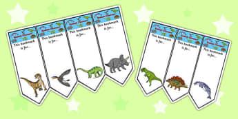 Realistic Dinosaurs Bookmarks - dinosaur, bookmarks, books, award