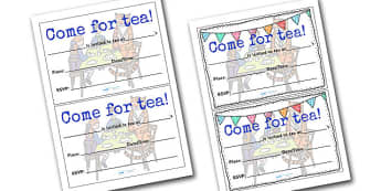 The Tiger Who Came to Tea Invitation Templates-the tiger who came to tea, invitation templates, writing templates, templates, invatations