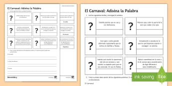 Carnival Guess The Word Activity Sheet Spanish - definitions, descriptions, Reading, Comprehension, Mask, dictionary, worksheet
