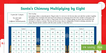 Santa's Chimney - Multiplying By Eight Activity Sheet - multiplication, times tables, multiples, numeracy, maths, mathematics, worksheet