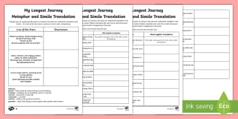 KS2 My Longest Journey Metaphor and Simile Translation Differentiated Activity Sheet - Christmas, Poem, Poetry, Alliteration, Personification, comprehension, Metaphor, Simile, Holidays, W