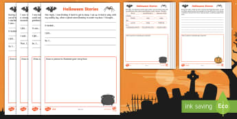 Halloween Early Level Writing Differentiated Worksheet / Activity Sheets - finish the story, writers craft, 31st October, Spooky Stories, Creative Writing,