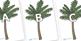 A-Z Alphabet on Palm Trees - A-Z, A4, display, Alphabet frieze, Display letters, Letter posters, A-Z letters, Alphabet flashcards