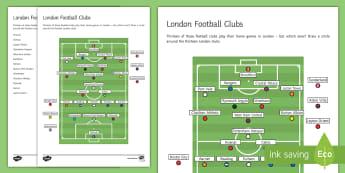 London Clubs Champions League Final Activity Sheet - football, london, champions league, worksheet