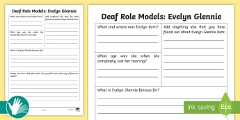 Deaf Role Models Evelyn Glennie Research Activity - Deaf, Identity, culture, community, British Sign Language, BSL, hearing impaired, ICT, worksheet