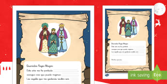 Ficha: Carta a los Reyes Magos Ficha de actividad - Carta, Reyes Magos, Escritura guiada, Navidad,Spanish