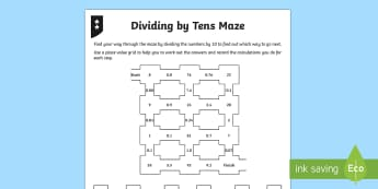 Dividing by 10 Differentiated Worksheet / Activity Sheets - dividing, dividing by 10, place value, tenths, ones, units, decimal