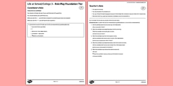 Life at School 3 GCSE Foundation Tier Role-Play French - Speaking, oral, routine, rules, collège, timetable, study