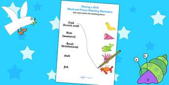 Word and Picture Matching Worksheet to Support Teaching on Sharing a Shell - story books, worksheets