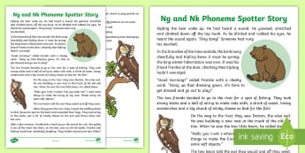 Ng and Nk Phoneme Spotter Story - EYFS, Early Years, KS1, Key Stage 1, phonics, Letters and Sounds, dfe, phonemes, alternative spellings, year 1, phase, 5, five