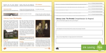 Literary Lives: The Brontes Differentiated Comprehension Go Respond Activity Sheets  - Comprehensions KS3/4 English, Charlotte Bronte, Emily Bronte, Anne Bronte, Branwell Bronte, Patrick
