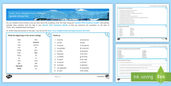 Home Town Neighbourhood and Region Activity Mat Spanish - KS4, GCSE, Spanish, topics, activity, mats, exercises, home, town, neighbourhood, region