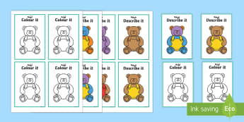 Describe It Colour It Teddy Game Arabic/English - Describe It Colour It Teddy Game - describe it, colour, teddy,Arabic-translation