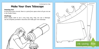 Make Your Own Telescope Activity Sheet - craft, paper craft, pirate, telescope, Amazing Fact Of The Day, activity sheets, powerpoint, starter