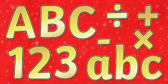 Christmas Display Lettering (Gold) - Christmas, xmas, Display lettering, display letters, alphabet display, letters to cut out, letters for displays, coloured letters, coloured display, coloured alphabet, tree, advent, nativity, santa, father christm