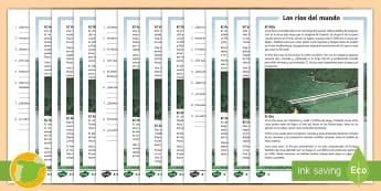 Comprensión lectora de atención a la diversidad: Los ríos del mundo - Nilo, Danubio, Rin, Volga, Amazonas, Yangtsé, sociales, ciencias, ríos, comprensión, lectura, lec