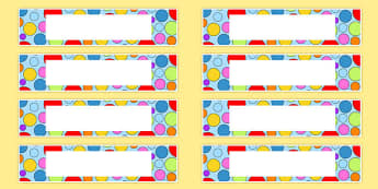 Multicoloured Polka Dot Tote Tray Name Labels - labels, polka dot