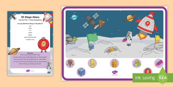 3D Shape Aliens Can You Find...? Poster and Prompt Card Pack - 3D Shapes, cuboid, cube, cone, pyramid, prism