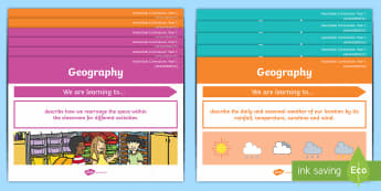 Year 1 Australian Curriculum Geography Content Descriptors Posters Display Pack - Australian HASS Content Descriptor Statements, Geography, knowledge and understanding, Year 1, Austr