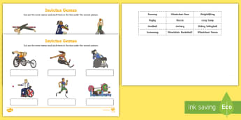 Invictus Games Word and Picture Matching Activity Sheet - paralympians, sports, boccia, goalball, wheelchair rugby, pe, events