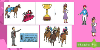 Melbourne Cup Threading Cut-Outs - EYLF, Australia, horse racing, fine motor, threading, lacing,Australia