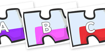 A-Z Alphabet on Jigsaw Pieces - A-Z, A4, display, Alphabet frieze, Display letters, Letter posters, A-Z letters, Alphabet flashcards
