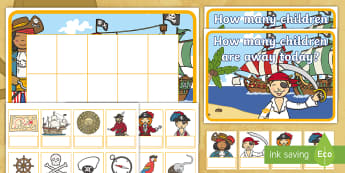 Pirate Editable Self-Registration Ten-Frame Resource Pack - Pirates, Pirate, Ten Frame, Maths Mastery, counting, number, Calculating,Self-Registration, Register