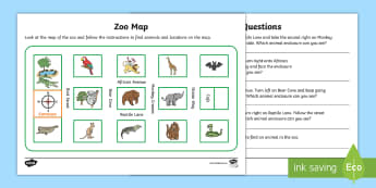 Zoo Map Activity Sheet - Mathematics, Year 1, Year 2, Measurement and Geometry, worksheet, Location and transformation, ACMMG