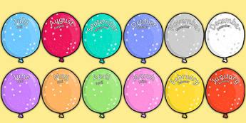 Editable Month Balloons Word German Translation - german, editable, month, balloons, display