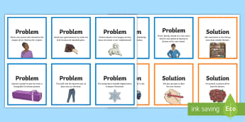 Problem and Solution Matching Cards - Writing prompts, Reading Comprehension, Small group Reading, writing, narrative writing