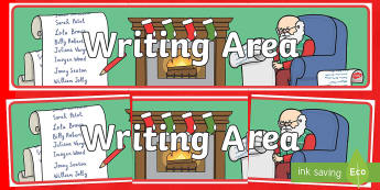 Christmas Writing Area Banner - Christmas, Nativity, Jesus, xmas, Xmas, Father Christmas, Santa, banner, display