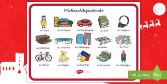 Weihnachtsgeschenke Wortschatzsammlung: Querformat German/Deutsch - Weihnachten, weihnachtlich, Dezember, Advent, Geschenke, Bescherung,,German