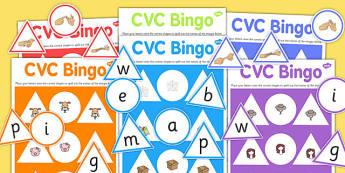 CVC Bingo Game with British Sign Language - cvc, bingo, game