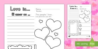Valentine's Day Worksheet / Activity Sheet US English/Spanish (Latin) - Valentines Day Worksheet - worksheets, worksheet, work sheet, valentines day, valentines, valentines