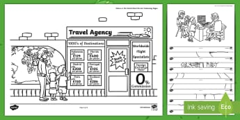 Where in the World Shall We Go? Colouring Pages -  ROI, Where in the World Shall We Go, Aistear, Travel Agents, Colouring Pages, Irish