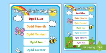 Poster Arddangos Dyddiau'r Wythnos - Dyddiau'r Wythnos, Days of the Week, Dydd Llun, Dydd Mawrth, Dydd Mercher, Dydd Iau, Dydd Sadwrn, D