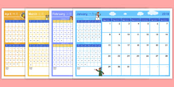 2018 Themed Display Calendar English/Mandarin Chinese - 2018 Themed Display Calendar - 2018 calendar, 2018, calendar, year, months of the year,calandar,cale