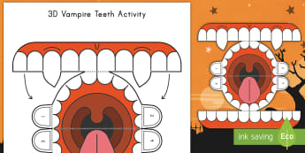 Simple 3D Halloween Vampire Teeth Paper Craft Activity - Halloween, paper craft, teeth, cut outs, fine motor skills, vampire