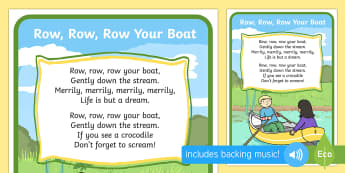 Row Row Your Boat Song - rhymes, display, nursery rhyme rescourses, rhymin, ks1, eyfs, songs, river, water