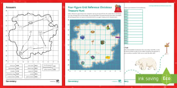 Four-Figure Grid Reference Christmas Treasure Hunt Activity Sheet - maps, plotting, santa, KS3, KS4
